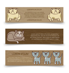 Cute hand drawn cats banners template vector