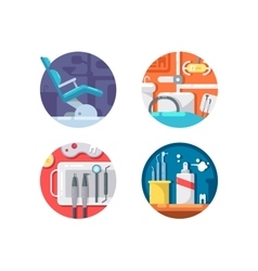 Dental clinic icons set vector