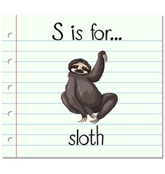 Flashcard letter s is for sloth vector