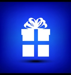 Gift box white on blue vector image