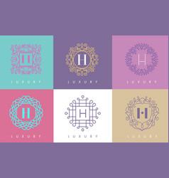 H letter pastel floral monogram lines logo design vector