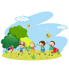 Kids playing in the garden vector
