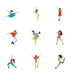 Kind of dances icons set flat style vector