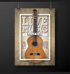 Live music flyer design with acoustic guitar on vector