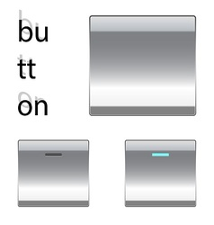 Metal square button vector