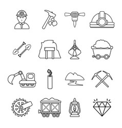 Mining minerals business icons set outline style vector