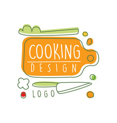 original cooking logo design with cutting board vector image