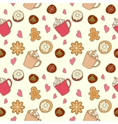 Pattern of coffee and sweets vector