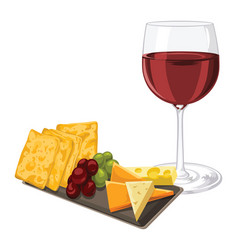 Red wine with cheese cookie and grapes vector