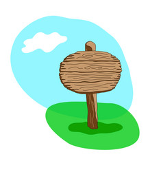 Round blank cartoon wooden signpost vector