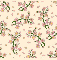 Seamless pattern with branch of cherry blossoms vector