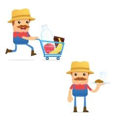 set of funny cartoon farmer vector image vector image