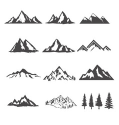 set of the mountains isolated on white background vector image vector image