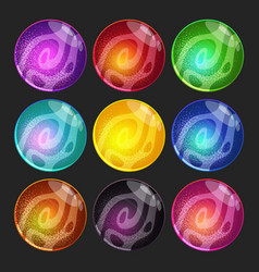 set with fantasy planets colorful glossy vector image vector image