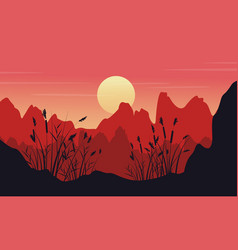 silhouette of cliff with coarse grass landscape vector image vector image