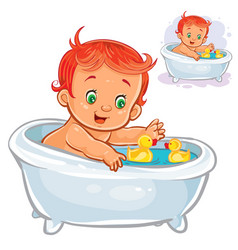 Small child take a bath with a rubber duck vector