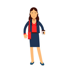 smiling businesswoman cartoon character in a blue vector image