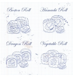 sushi roll sketch vector image