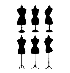 Vintage mannequins silhouettes vector image vector image