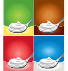 whipped cream on spoon with different background vector image vector image