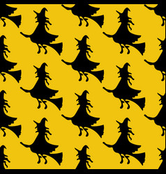 Witch on the broom pattern vector