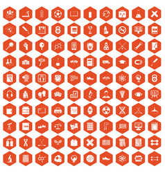 100 college icons hexagon orange vector