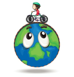a boy playing bicycle vector image
