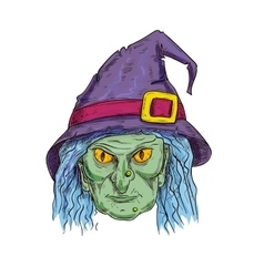 Witch head in sorcerer hat sketch icon vector image