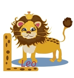 L letter Funny cartoon lion design in a colorful vector image