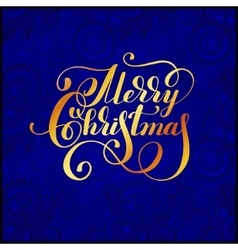 Merry christmas gold calligraphic hand lettering vector