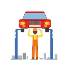 Smiling mechanic working under lifted vehicle in vector