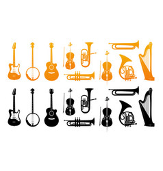 Set icons of orchestral musical instruments vector