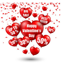 happy valentines day background with big sale bal vector image