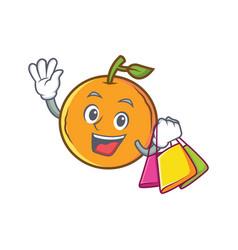 Shopping orange fruit cartoon character vector