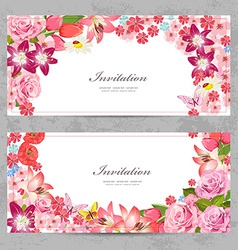 invitation cards with beautiful flowers for your vector image