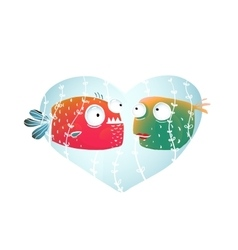 Underwater Cartoon Fish in Love with Blue Heart vector image