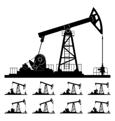 Nine different positions working oil pumps vector
