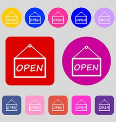 Open icon sign 12 colored buttons flat design vector
