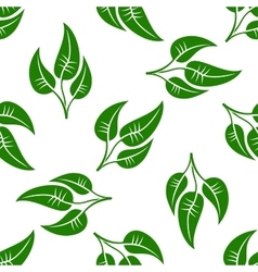 Seamless pattern of green leaves on white vector
