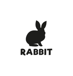 Silhouette of a rabbit sitting under logo pet vector image