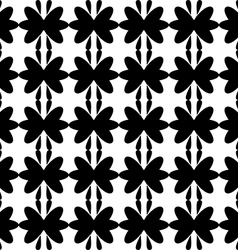 Black pattern floral seamless on white background vector image