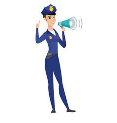 Caucasian police woman talking into loudspeaker vector