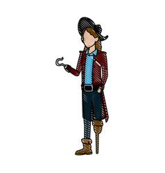 character man pirate suit hat costume halloween vector image