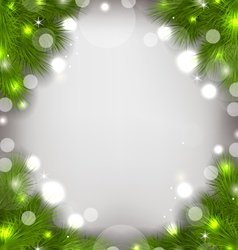 Christmas decorative border from fir twigs glowing vector image vector image