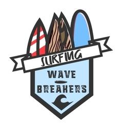 Color vintage surfing emblem vector image
