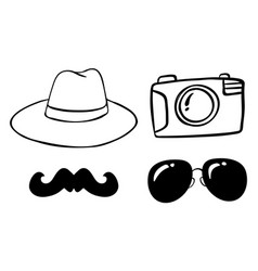doodle items with camera and hat vector image