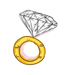 Engagement gold ring vector