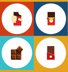 Flat icon sweet set of cocoa chocolate bar vector