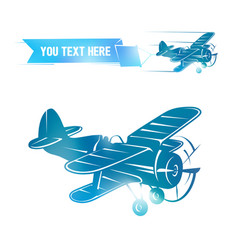 flying vintage color plane with the banner vector image vector image