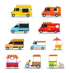 Food vehicles truck van pushcart color set vector